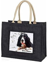 Cocker Spaniel in Snow 'Yours Forever' Large Black Shopping Bag Christmas Presen