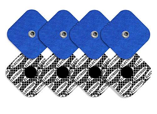 TENSPAD SILVER 8 electrodos Snap, 50 x 50 mm compatibles con COMPEX, con PATRÓN de Plata en la Superficie conductora