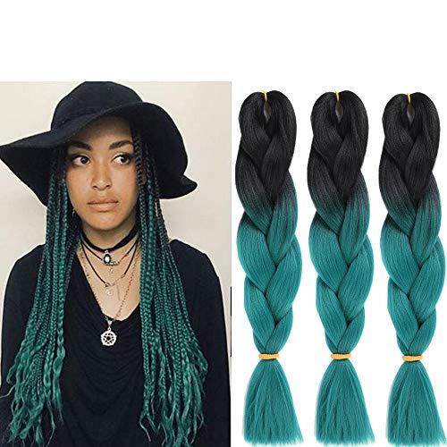 6 Packs Eunice Hair Jumbo Flechten Hair Extensions Colorful Kunsthaar Kanekalon Haar für Heimwerker Crochet Box Zöpfe Ombré Green 2 Tone Color 100 g/pcs 61 cm (ombre green)