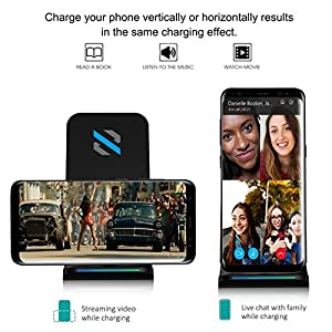 SKYVIK 2 Coils Cell Fast Wireless Charging Pad Stand for All Smartphones and Other Qi Enabled Devices(Black)