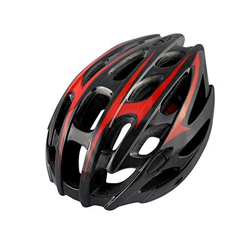 Casco da ciclismo, parapioggia per casco ultraleggero 209g / visiera rimovibile / leggero / confortevole / misura regolabile (57 ~ 62 cm) - nero rosso