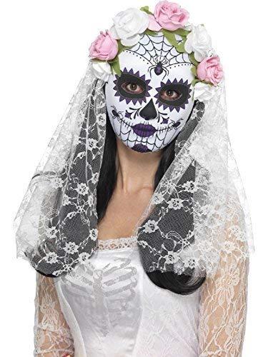 Fancy Me Damen Tag der Toten Braut Zuckerschädel Das Gesicht Bedeckend Maske Blumenmuster Rose Weiß Schleier Halloween Karneval Mexikanisch Fest Kostüm Verkleidung Zubehör