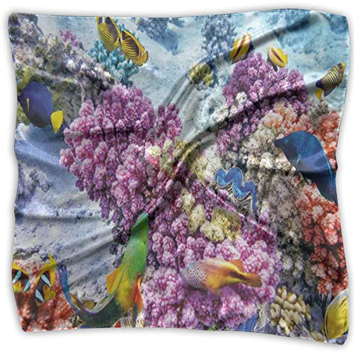 JJIAYI Mixed Designs Silk Square Scarves Bandana Scarf, Surreal View Of Marine Life With Submerged Colony Of Pillar Corals Aquatic Fauna,Womens Neck Head Set