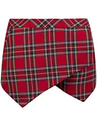 New Womens Tartan Wrap Mini Skort Skirt Irregular Zip Irregular Short Culottes