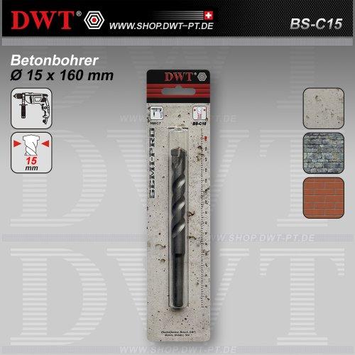 DWT Betonbohrer Ø 15 x 160 mm HM/CT für Bohrmaschine - BS-C15
