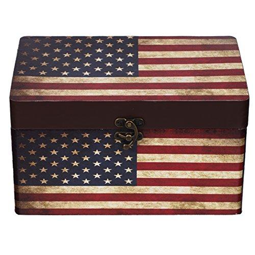 Baúl Caja 11A6028Estados Unidos, Baúl de madera con tapizado de lona), diseño vintage, Cofre del Tesoro, caja, caja pirata, muebles pequeños, con herrajes de metal, acabado antiguo, madera, diferentes tamaños, Maritim, decoración, de gran calidad, Kolo