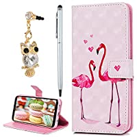 For Samsung Galaxy S8 Case, YOKIRIN 3D PU Leather Magnetic Adsorption Folio Inner Soft TPU with Card Slots Kickstand Flip Holster Wallet Case (with Dust Plug & Stylus Pen), Flamingos