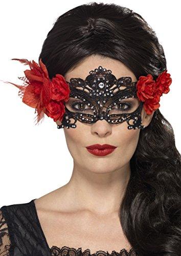 Smiffys, Damen Filigrane Tag der Toten Augenmaske mit Rosen, One Size, Schwarz, 44958