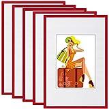 WOLTU BR9858rt-5 Bilderrahmen 5er Set mit Passepartout Kunststoff Rahmen, Glasvorderseite, Rot, 13x18 cm