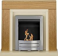 Adam Chloe Fireplace Suite in Oak with Colorado Bio Ethanol Fire in Brushed Steel, 39 Inch