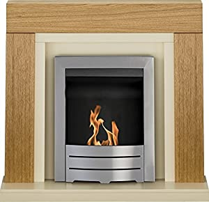Adam Chloe Fireplace Suite in Oak with Colorado Bio Ethanol Fire in Brushed Steel, 39 Inch