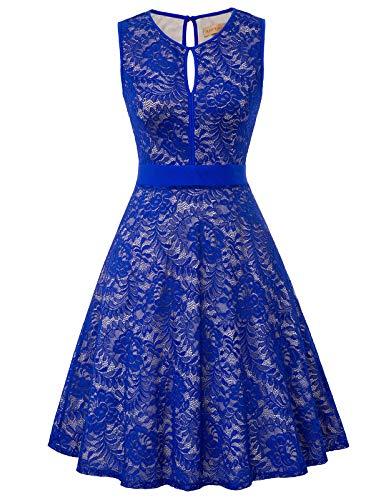 Frauen Abend Party Blumenspitze gut elastisch a-line Tee Kleid Picknick Kleid Blau L Line-tee