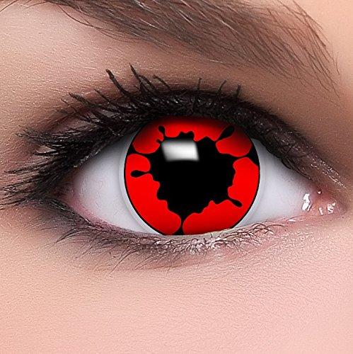 Linsenfinder 'Tollwut' farbige Kontaktlinsen rot schwarz + Gratis Behälter perfekt zu Halloween und Karneval ohne Stärke fun crazy rote