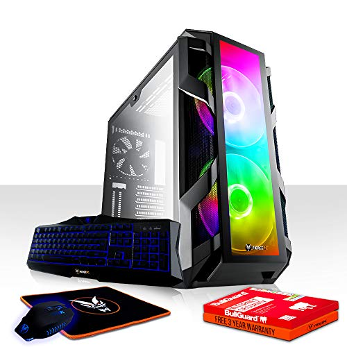 Fierce Onslaught High-End RGB Gaming PC Bundeln - Schnell 4.8GHz Hex-Core Intel Core i7 8700K, 480GB SSD, 2TB Festplatte, 16GB 2666MHz, AMD Radeon RX 570 4GB, Tastatur Maus 1052765