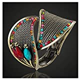 Daawqee Mujer Pulsera/Brazalete, Big Size Turkish Bangles For Women Party Gifts Antique Gold Color Vintage Resin Bangles Colorful Flower Bracelet&Bangle Colorful 54-56mm