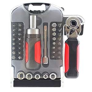 Spares2go Mini Stubby Tournevis à cliquet et douille Outil Clé + bit Set (Ensemble de 40pièces–Comprend Philips, Pozidriv, Torx, Hex, plat + Sockets)