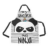 InterestPrint Lindo Panda Ninja Unicornio Delantal para Mujeres Hombres Niñas Chef con Bolsillos, Negro Blanco Unisex Ajustable Bibdelon Cocina para Cocina Hornear Jardinería Hogar