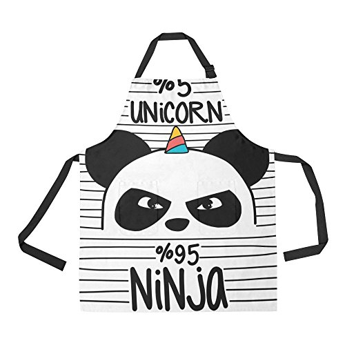 InterestPrint Lindo Panda Ninja Unicornio Delantal