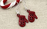 Boucles d'oreilles mouffles hiver rouge Noël , clips bijoux noël gant rouge boucles oreilles enfants, cadeaux noel