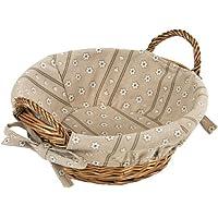 Kesper 17904 - Cesta para el pan de mimbre con forro de tela, 27/30 x 13 cm, color beige