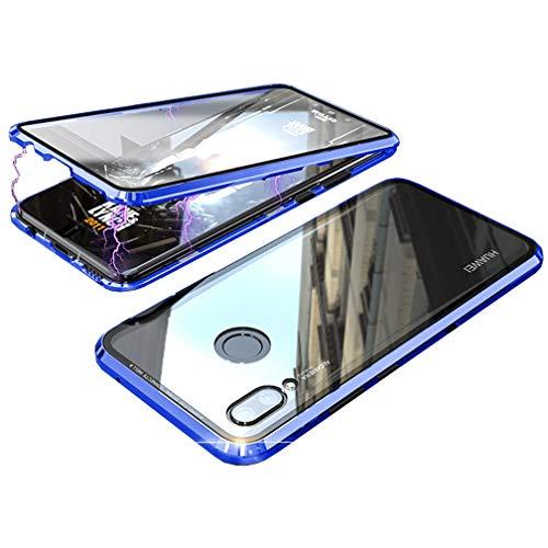 ColiColi 360 Grad Hülle für Huawei Nova 3 Handyhülle Vorne Hinten Durchsichtig Panzerglas Gehärtetem Glas Magnetisch Adsorption Case R&um Doppel-Schutz Bildschirmschutz Rückseite Cover, Blau