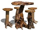 LioLiving, 5-teiliges Set Wurzel aus massivem Teak-Wurzelholz (1 Bartisch und 4 Barhocker) (#400029)
