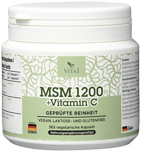 VITA1 MSM 600mg • 365 Softgel Kapseln (Halbjahres-Vorrat) • mit Vitamin C • Hergestellt in Deutschland
