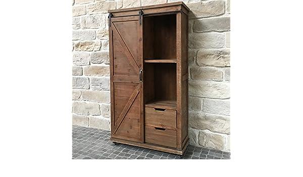 Credenza Con Vetrina Stile Country : Mobile armadio credenza a due cassetti legno ferro stile