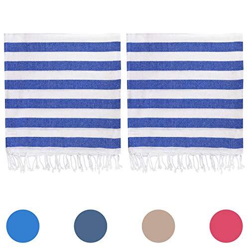Baumwolle Streifen Werfen (Nicola Spring 100% Türkisch Baumwolle Handtuch-Set | Strand Bad Fitnessraum Sauna | Hammam Pestemal Fouta Stil Werfen Blatt - Blauer Streifen - 2er Pack)