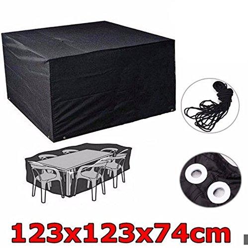 Schutzhülle für Tisch Stühle Abdeckhaube Gartenmöbel Schutzhuelle Abdeckung Wetterschutz 123cm*123cm*74cm Schwarz