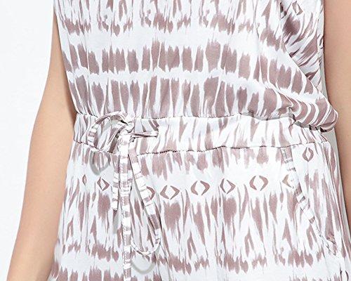 Femmes Imprimé Combishort Sans Manches Jumpsuit Combinaisons Sans Bretelles Casual Plage Playsuit Rompers Marron Clair