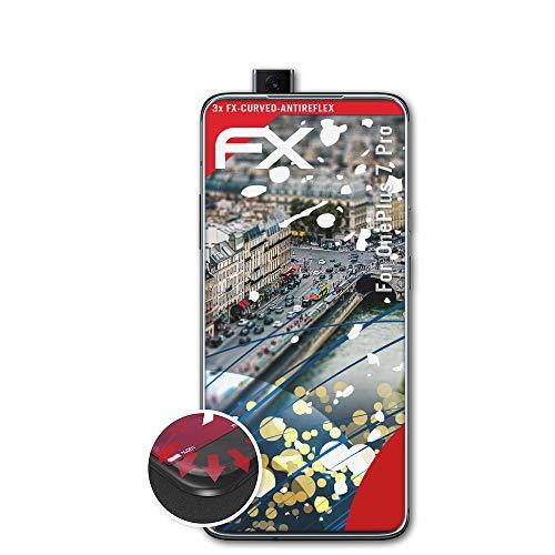 atFolix Schutzfolie passend für OnePlus 7 Pro Folie, entspiegelnde und Flexible FX Displayschutzfolie (3X)