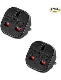 Incutex 2x UK to EU Adapter Travel Adapter UK to DE Travel Plug UK to DE Power Adapter UK 3-Pin to Euro 2-Pin Type E, black