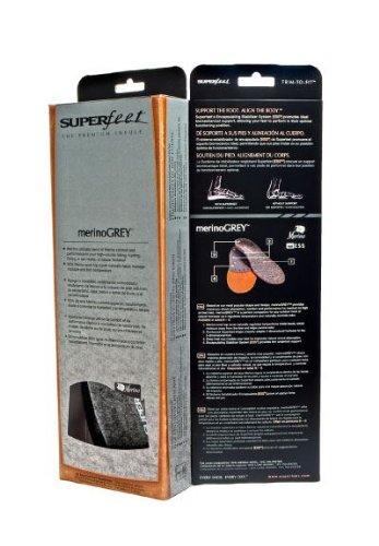 Superfeet Solette Premium Merino Grigio Copertura Lana Termica Profilo Arco Alto