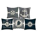 WMWZ Bunt Ozean-Serie Segelboot Anchor Design Kissen Leinen Baumwolle Überwurf Case Soft Bettwäsche Kissenbezug Für Sofa 45 X 45 cm,5 Stück