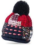 CASPAR MU131 Damen Patchwork Bommelmütze, Farbe:rot;Größe:One Size