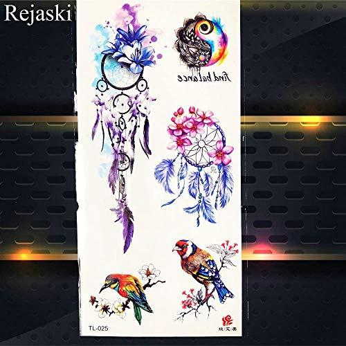 BRT Aquarell Traumfänger Temporäre Tattoo Aufkleber Frauen Körper Arm Kunst Malerei Flash Tatto Mädchen Taille Feder Gefälschte Tattoo Tribal PTL025