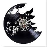 Yanshu Reloj de Pared de Vinilo para la decoración del hogar The Wolf Modern Design Record 12 Pulgadas. 3D