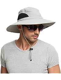 6a54fe17e7abaa EINSKEY Wide Brim Sun Hat Summer UV Protection Beach Hat Showerproof Safari  Boonie Hat Foldable Fishing