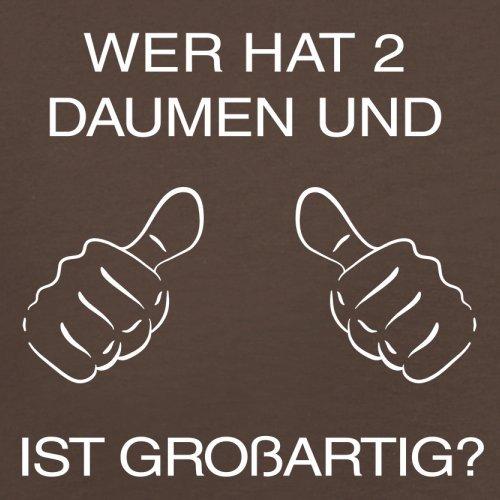 WER HAT ZWEI DAUMEN UND IST GROßARTIG - Herren T-Shirt - 13 Farben Schokobraun