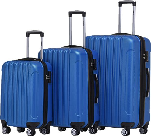BEIBYE TSA Schloß 2050 Hartschale Trolley Koffer Reisekoffer in M-L-XL-Set (Diamond Blau, Set)