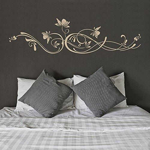 KLEBEHELD® Wandtattoo Stilvolles Ornament mit Blüten Größe 140x37cm, Farbe schwarz