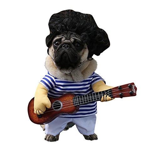 Hundebekleidung, Haustier kleiner Hund Gitarre Transfiguration Mantel keine Perücke Winter Stand Up Kostüm Brustschutz Mode Streifen Siamese Coat 3 Größe (Color : Blue Stripe, Size : M)