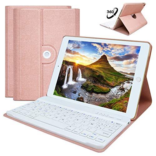 COO iPad Mini 4 -A1538/A1550 Hülle Tastatur, 360 Grad rotierende Stand Keyboard Case mit Mulit-Angle- Ständer-Funktion, mit Auto Schlaf/Wachen, Bluetooth Deutsches QWERTZ Layout (Champagner) - Das Für Ipad Mini Tastaturen