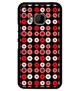 Printvisa Red And White Circular Pattern Back Case Cover for HTC One M9::HTC M9::HTC One Hima