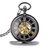 Reloj de bolsillo for maquinaria Industrial: Mesa de Collar de Estudiante con Tapa Retro Tallada Calada Masculina, Escala Romana, Regalo de cumpleaños, Mesa Antigua (Size : A)