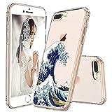 MOSNOVO iPhone 8 Plus Hülle, iPhone 7 Plus Hülle, Tokyo Wave Muster TPU Bumper mit Hart Plastik Hülle Durchsichtig Schutzhülle Transparent für iPhone 7 Plus/iPhone 8 Plus (Tokyo Wave)