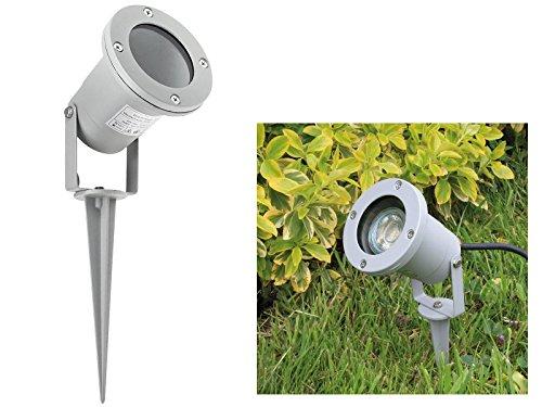 LED Garten-Strahler IP68/ IP44 mit Erdspieß und Kabel in silber-grau mit 3W GU10 LED Lichtfarbe warmweiß