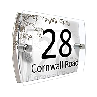 House Number Sign Plaque Garden Glass Effect Acrylic Sign Door Plate Marble Wall Display 2 Part Branded Acrylic (Bambi Forest)