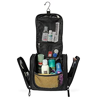Spacious Premium Toiletry Bag with hanging hook | Large Travel Kit for men & woman | Water-resistant Wash Bag with lots of compartments | XXL Cosmetic Bag with hanging strap (Black)